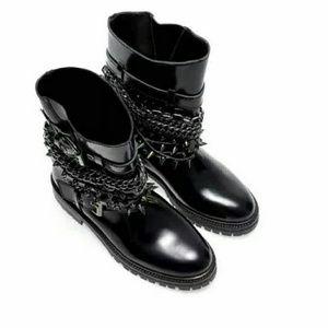 Zara  Black Moto Boot w/Chains and Studs